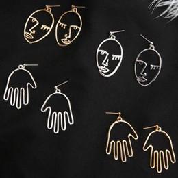 Wholesale 14k Gold Pierced Earrings - Wholesales 5cm Gold Tone Face Hand Statement Dangle Earrings Chic Palm Fake Piercing Chandelier For Women