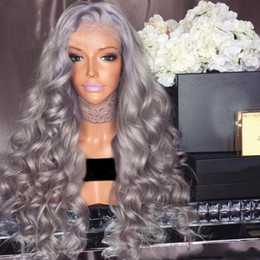 Wholesale Natural Grey Hair - glueless full lace wig Virgin hair Brazilian body silver grey human hair wig with natural hairline baby hair