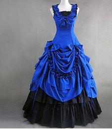 2019 rote viktorianische kleider für frauen Halloween-Kostüme für Frauen Erwachsenen südlichen Belle Kostüm rot viktorianischen Kleid Ballkleid Gothic Lolita Kleid plus Größe benutzerdefinierte günstig rote viktorianische kleider für frauen