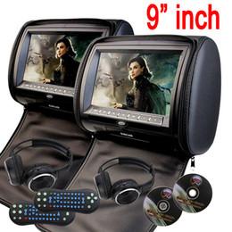 Wholesale Headphones Games - universal 9'' Car Headrest pillow car DVD Player zipper car Monitor Digital TFT Screen Headrest DVD Player FM USB Game Disc+2 IR Headphones