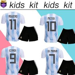 Wholesale Football Shirt Kids Kit - 2018 Argentina World Cup MESSI DYBALA Argentina kids kit home Away soccer jersey AGUERO DI MARIA HIGUAIN 2018 home football shirts