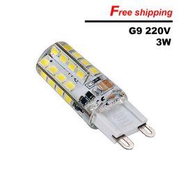 Canada G9 ultra lumineux a mené la bougie de silicone en cristal de lampe de maïs AC220V 3W SMD2835 LED pour remplacer les ampoules halogènes de 20-40W Offre