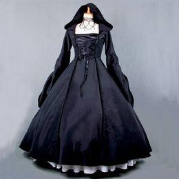 Vestido de noche de satén con mangas negro online-Vestido de satén de alta calidad negro satinado cosplay vestido de noche de las bellezas góticas de manga larga vestido envío gratis