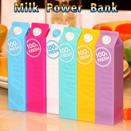 Wholesale milk power - power bank powerbank 2600Mah Mini milk box 1U Phone Charger Portable External Battery can make LOGO for iPhone Samsung Tablet PC