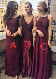 2a9cfa3b8096 bridesmaid dress wine color 2019 - Wine Red Burgundy Long Bridesmaid Dress  2018 Lace Chiffon Floor
