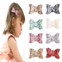 Wholesale Hair Clips Plastic Bows - Baby Girls Glitter Barrettes Children hair bows with Hair alligator clips Shining Bowknot Hairpins Kids Infants Hair Accessories Headdress