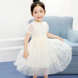 Wholesale Bubble Sweet - Children's wear banquet new girls lace show dress princess sweet invisible zipper mesh bubble sleeve dress