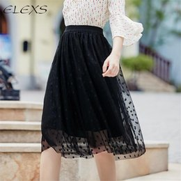Wholesale Tulle Adult Skirt Xl - ELEXS Autumn & Winter Fashion Lace Skirt Faldas Big Swing Skirts Womens High Waist Adult Tulle Skirt E7955