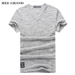 material de camiseta de algodão Desconto Atacado-HEE GRAND Homens de Verão T-Shirts 2017 Elegante Com Decote Em V Contraste Cor Decoração de Algodão Material Respirável Masculino Top Tees MTS2265
