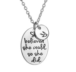 "Wholesale vintage best friend necklaces - Vintage Silvers Hand Stamped ""she believed she could so she did"" Disc Swallow Charms Pendant Necklace For Women Best Friends Jewelry Gift"