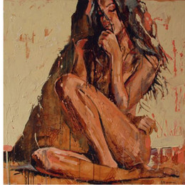 nude girls oil paints Coupons - Hand Painted Abstract Portrait Oil Painting On Canvas sexy nude girl No stretch And No Framed Home Decoration