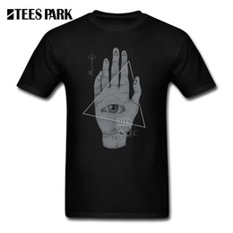 Wholesale purple witch - T Shirt for Men Witch Hand Print Men illuminati Pre-Cotton Tops Short Sleeved T-Shirts All Seeing Eye Youth Vintage Tee Shirts
