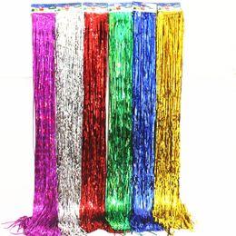 Decorazioni porta oro online-Stagnola della stagnola della frangia della tenda Tinsel della stringa Shimmer Shimmer Shimmer del partito di compleanno della decorazione della porta di compleanno di cerimonia nuziale