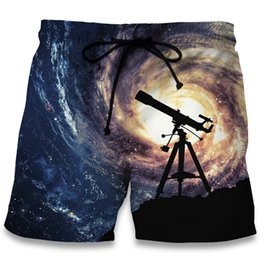 Wholesale Galaxy Trousers - Plus Size Men Summer Beach Shorts 2017 Telescope Swirl Galaxy 3D Print Fashion Harajuku Bodybuilding Boardshorts Fitness Trouser