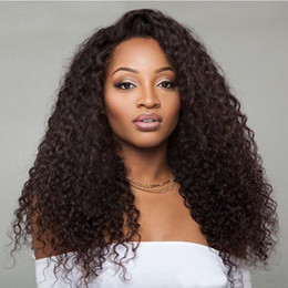 Wholesale Hot Sexy Blondes - Hot Sexy Black Long Kinky Curly Full Lace Wigs with Baby Hair Brazilian Glueless Lace Front Human Hair Lace Wigs for Black Women