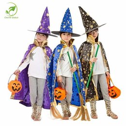 5c9cbed5a47 Boy Girl Kids Children Halloween Costumes Witch Wizard Cloak Gown Robe with Hat  Cap Stars Fancy dress up Cosplay Chirstmas