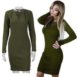 de0644d90d8c Wholesale 2018 Spring and Autumn Sexy Slim Women Dress V-Neck Cross-Belt  Dress Long Sleeve Hip Dress for Lady Hot Sale Free Shipping