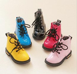 Wholesale Little Girls Red Shoes - 2017 Best-selling Children Martin boots Boys and girls PU waterproof Martin shoes outdoor Student sneakers for little big kids child shoes