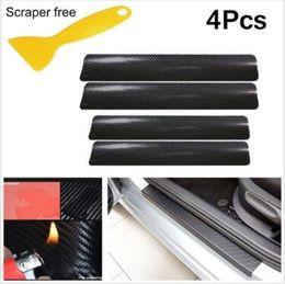 Wholesale scuff plate door - 4pcs Black Car Door Plate Stickers Carbon Fiber Look Car Sticker Sill Scuff Cover Anti Scratch Decal with Scraper CCA9436 50set