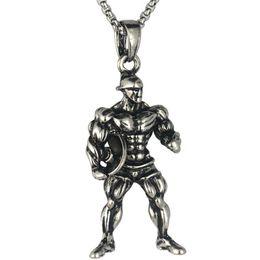 Fitness-charme online-Fitness Starke Mann Anhänger Halskette Edelstahl Kette Halskette Training Gym Charms Männer Sport Hip Hop Schmuck