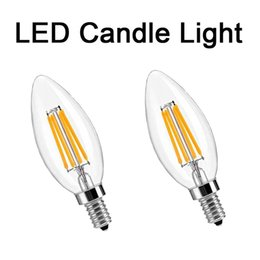 Wholesale E14 Candle Led Globe - LED Filament Candle Light Bulb 2W 4W 6W E14 E12 Led Bulbs Light High Bright Clear Glass C35 Led Lamp