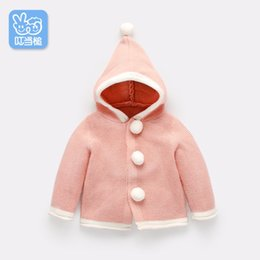 Wholesale Newborn Cardigans - Dinstry Spring and Autumn kids and newborn baby girl round collar knitted sweater baby boy pure cardigan coat