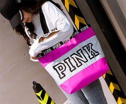 Wholesale Wholesale Tote Bag Luggage - Pink Duffel Bags Canvas Secret Storage Bag Unisex Travel Bag Waterproof Victoria Casual Beach Exercise Luggage Bags 5 Colors 50pcs
