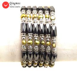 2019 magnetische armbänder halsketten Qingmos Brown Pearl Armband für Frauen mit 4-5mm natürliche barocke Perle schwarz Hämatit magnetische 38 '' lange Halskette Armband 353 rabatt magnetische armbänder halsketten