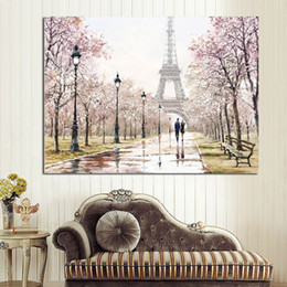 Wholesale Paris Canvas Wall Art - HD Print Romantic City Couple Paris Eiffel Tower Landscape Abstract Oil Painting on Canvas Wall Art Living Room Sofa Home Decor