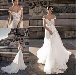 Wholesale Vintage Dress Shirts - Gali Karten 2018 Sheer Bohemian Wedding Dresses Off the Shoulder Lace Illusion Bodice Tulle Sweep Train Backless Bridal Gowns