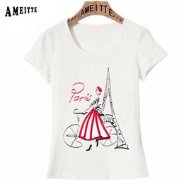 велосипедные принты Скидка Vogue Parisian romance Parisian with a bicycle Print T-Shirt Summer Fashion Paris Women T-Shirt Girl Casual Tops Woman Tees