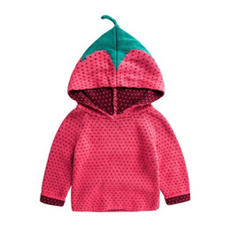 Wholesale Kids Hooded Sweaters - Kids Strawberry Sweaters Hoodies Knitted Pullover for Boys Girls for Winter Autumn Spring Hooded Sweater 0-5T