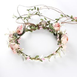 Wholesale Wholesale Decorations For Wreaths - Headbands for Women Hair Princess Hollow Hairband Artificial flowers wreath Woven stretch hair band Hair Accessories Holiday decoration 2018