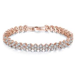 Braccialetti da tennis in cristallo romano di moda da donna Bracciale tennis in oro rosa con diamanti a cuore di lusso con bracciale a scatto a forma di gioielli da pizzo guarisce blu fornitori