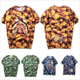 Wholesale Women Camo Shorts - Summer Tide Brand Men's Camo Short Sleeved Zipper Shark T-Shirts Men Women Crew Neck Cotton skateboard Casual T-shirt Tops