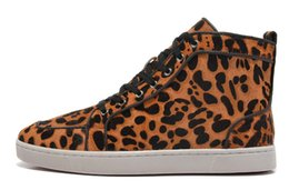 Wholesale pink leopard print shoes - Top Brand Men Women Leopard Print Brown Snake Leather High Top Red Bottom Fashion Sneakers, Unisex Luxury Brand Flats, Comfort Casual Shoes