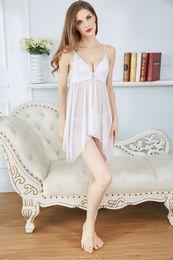 Wholesale Nightgown Women Sex - Erotic underwear cotton cup sexy sex pajamas female gauze strap nightgown