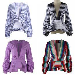 Wholesale ladies office blouses - New Rainbow Stripe Peplum Tops for Women Long Puff Sleeve Deep V Neck Fashion Office Ladies Blouse Shirts Plus Size 5XL 4XL 3XL