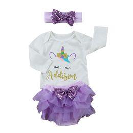0af48689319 Cute Newborn Baby Girl Unicorn Tops Romper Long Sleeve+Tutu Bow Bloomers  Short Headband 3PCS Outfits Toddler Kids Clothing Set