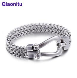 Нержавеющие металлические браслеты онлайн-Punk Polished Cast Solid Mesh Stainless Steel Men Bracelet Fashion Jewelry Chain Link Friendship Mens Biker Bracelets & Bangles