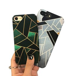 Wholesale scrub phone covers - Geometric ink gree phone shell for iPhone 6s   7plus original all-round scrub hard shell men and women fashion phone case cover