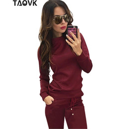 Wholesale Purple Leisure Suit - TAOVK New Russia Style Women Track Suit Wine Red & Apricot-colored , 2-piece Sweatshirt+Long Pant Leisure Tracksuits