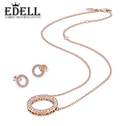 EDELL S925 Pendientes de Plata de Ley 14 K Juego de Oro Rosa Aretes de Oreja Pulsera Apta DIY Collar PAN Collar Libre desde fabricantes