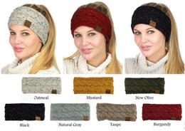 Wholesale Girls Stretch Headbands - CC Knitted Headband Solid Knitting Stretch Twist Hairband with CC Label Women Winter Warm Ear Crochet Turban Hair Girl Hair Band Headwraps