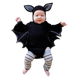 Ropa de bebe diseño unisex online-Baby Girl Boy Sets Conjuntos de Halloween Cosplay Black Bat Tops Disfraz de Bat Design Long Sleeve Mamelucos Sombrero Bebé Unisex