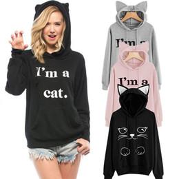 Wholesale Black Hoodie Ears - Hirigin Cats Cute Women Hoodies Fashion Cats Women Sweatshirts Big Ears Hat Hooded Long Sleeve Sweatshirts Kawaii Outwear