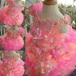 Wholesale Cute Mini Wedding Dresses - Cupcake Flower Girls Dresses For Wedding 2016 Cute Off The Shoulder Sequins Crystal Short Mini Formal Girl's Pageant Dresses Custom Made