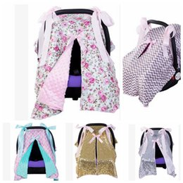 Wholesale Baby Car Seats Covers - Multi-Use Baby car cover stroller Sunshade Cover Blanket Sequins Wavy pattern Baby stroller Seat Sun protection Cover 100*70cm KKA3805