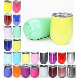 Wholesale Beer Glass Cup - 18 colors Stemless wine Cups 9 oz Stemless Beer Wine Glass Egg Shaped Cup Stainless steel Powder Coated Wine mugs with Lid DHL