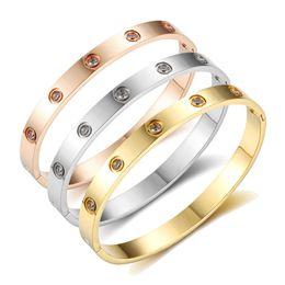 Armband schmuck liebe kristall online-Liebe Armbänder Schraube Armbänder Für Frauen Edelstahl Armbänder Armreifen Kristall Gold Farbe Frauen Schmuck Geschenk